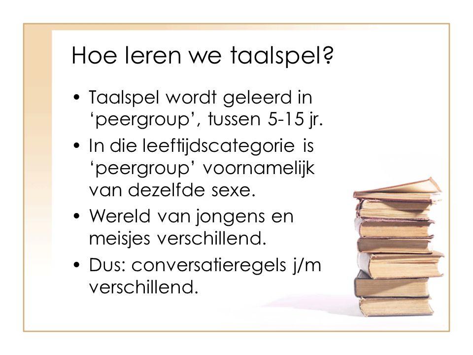 Hoe leren we taalspel Taalspel wordt geleerd in 'peergroup', tussen 5-15 jr.