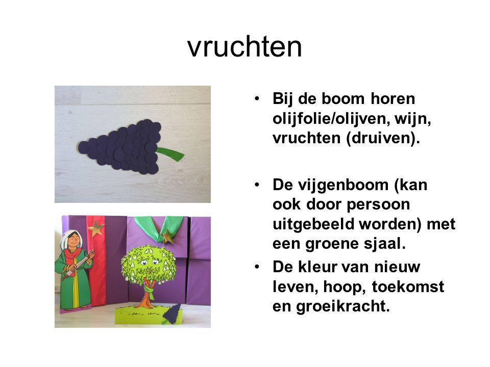 vruchten Bij de boom horen olijfolie/olijven, wijn, vruchten (druiven). De vijgenboom (kan ook door persoon uitgebeeld worden) met een groene sjaal.