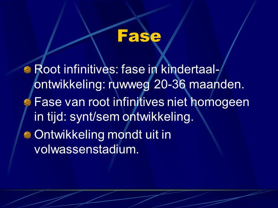Fase Root infinitives: fase in kindertaal-ontwikkeling: ruwweg 20-36 maanden.