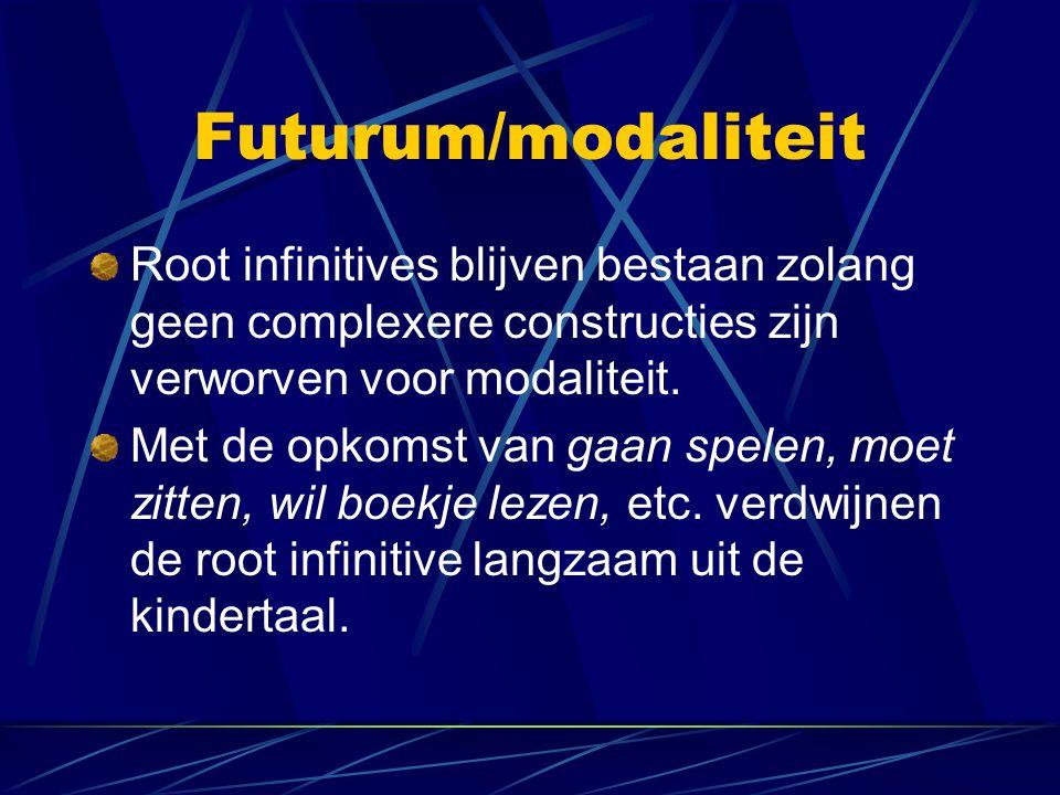 Futurum/modaliteit Root infinitives blijven bestaan zolang geen complexere constructies zijn verworven voor modaliteit.