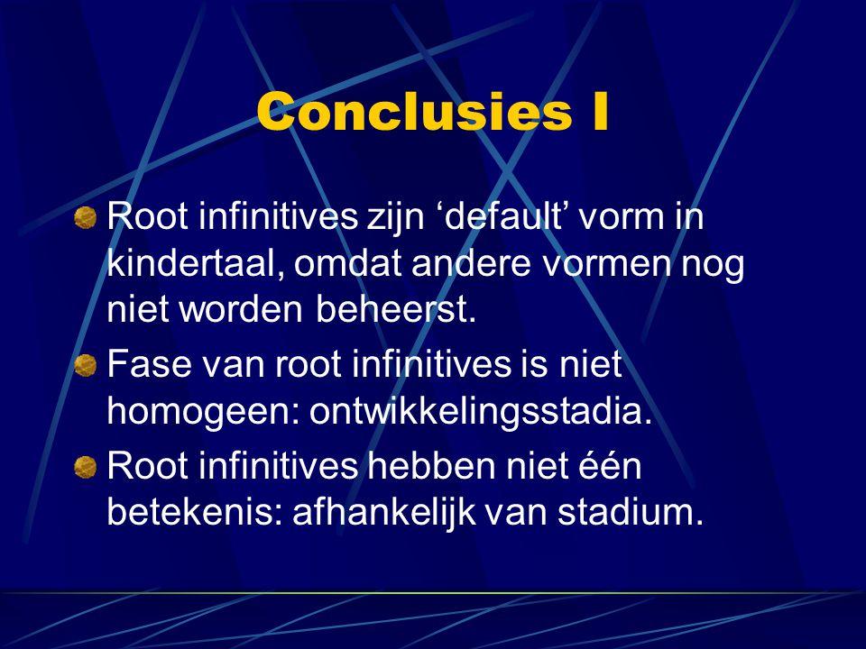 Conclusies I Root infinitives zijn 'default' vorm in kindertaal, omdat andere vormen nog niet worden beheerst.