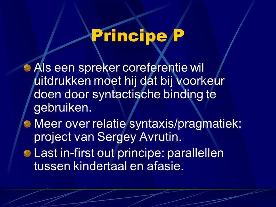 Principe P Als een spreker coreferentie wil uitdrukken moet hij dat bij voorkeur doen door syntactische binding te gebruiken.