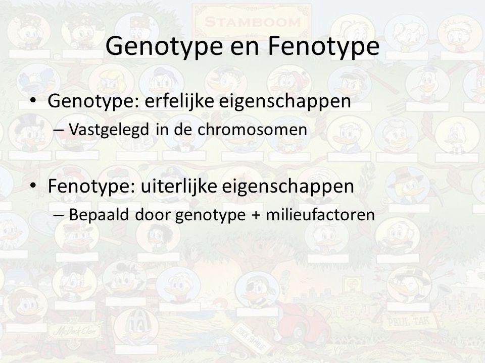 Genotype en Fenotype Genotype: erfelijke eigenschappen