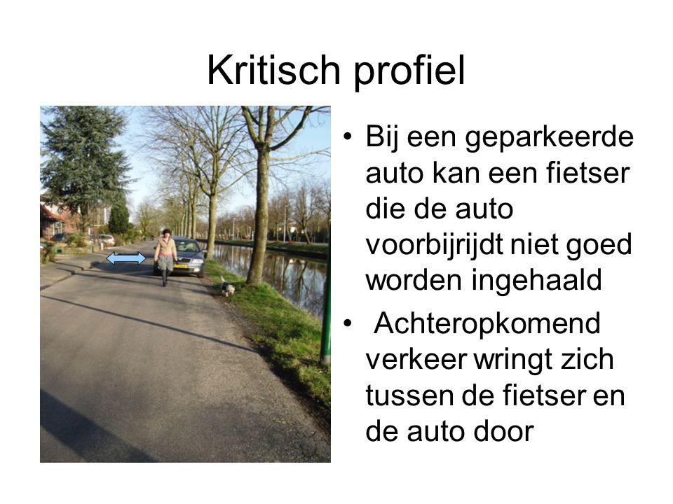 Kritisch profiel Bij een geparkeerde auto kan een fietser die de auto voorbijrijdt niet goed worden ingehaald.