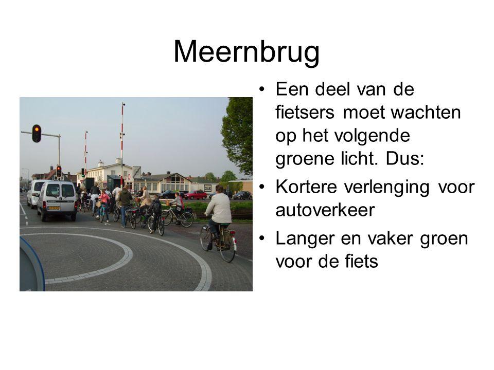 Meernbrug Een deel van de fietsers moet wachten op het volgende groene licht. Dus: Kortere verlenging voor autoverkeer.