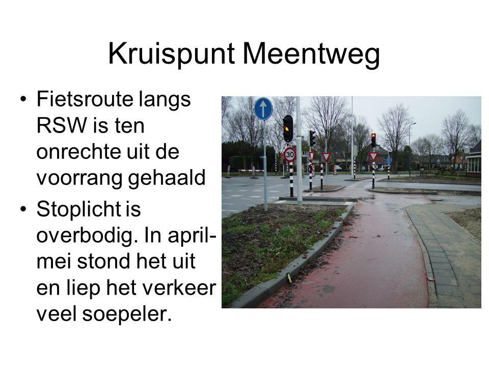 Kruispunt Meentweg Fietsroute langs RSW is ten onrechte uit de voorrang gehaald.