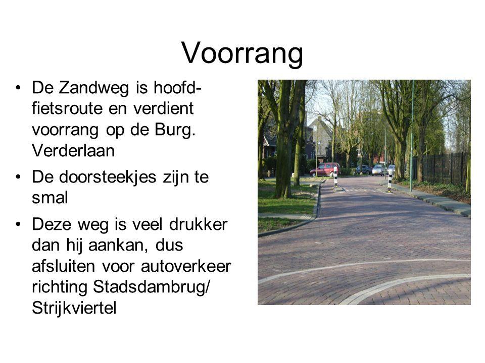 Voorrang De Zandweg is hoofd- fietsroute en verdient voorrang op de Burg. Verderlaan. De doorsteekjes zijn te smal.