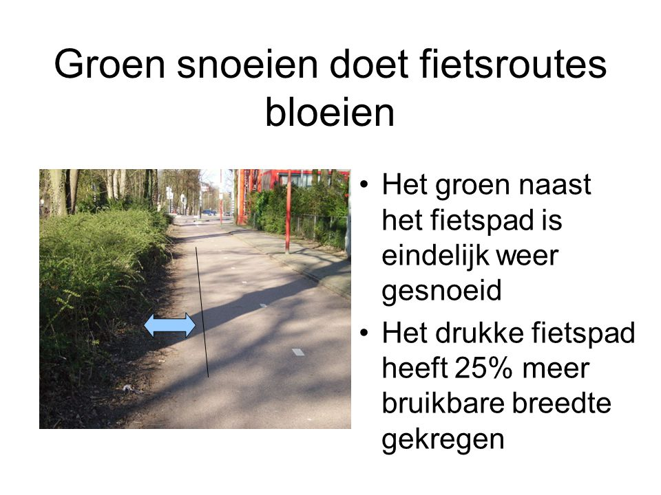 Groen snoeien doet fietsroutes bloeien