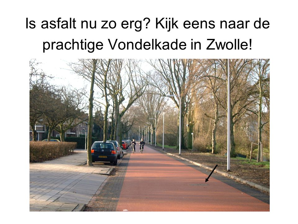 Is asfalt nu zo erg Kijk eens naar de prachtige Vondelkade in Zwolle!