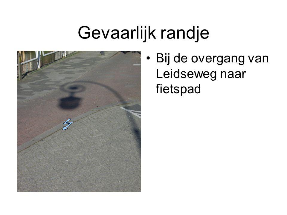 Gevaarlijk randje Bij de overgang van Leidseweg naar fietspad