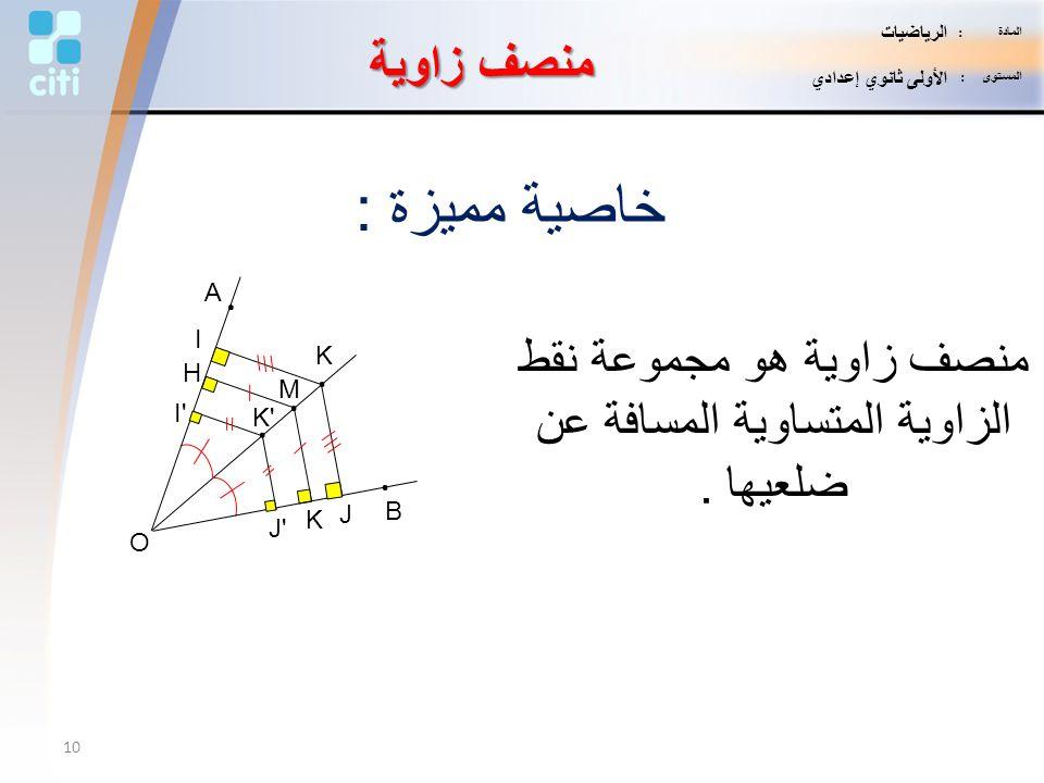 منصف زاوية هو مجموعة نقط الزاوية المتساوية المسافة عن ضلعيها .
