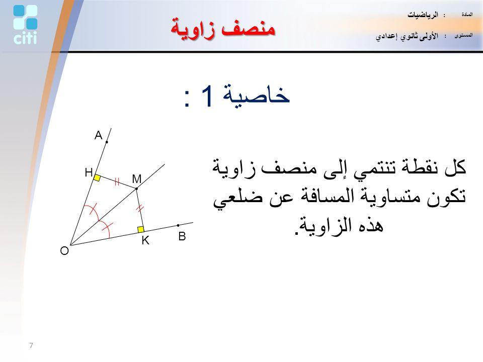 كل نقطة تنتمي إلى منصف زاوية تكون متساوية المسافة عن ضلعي هذه الزاوية.