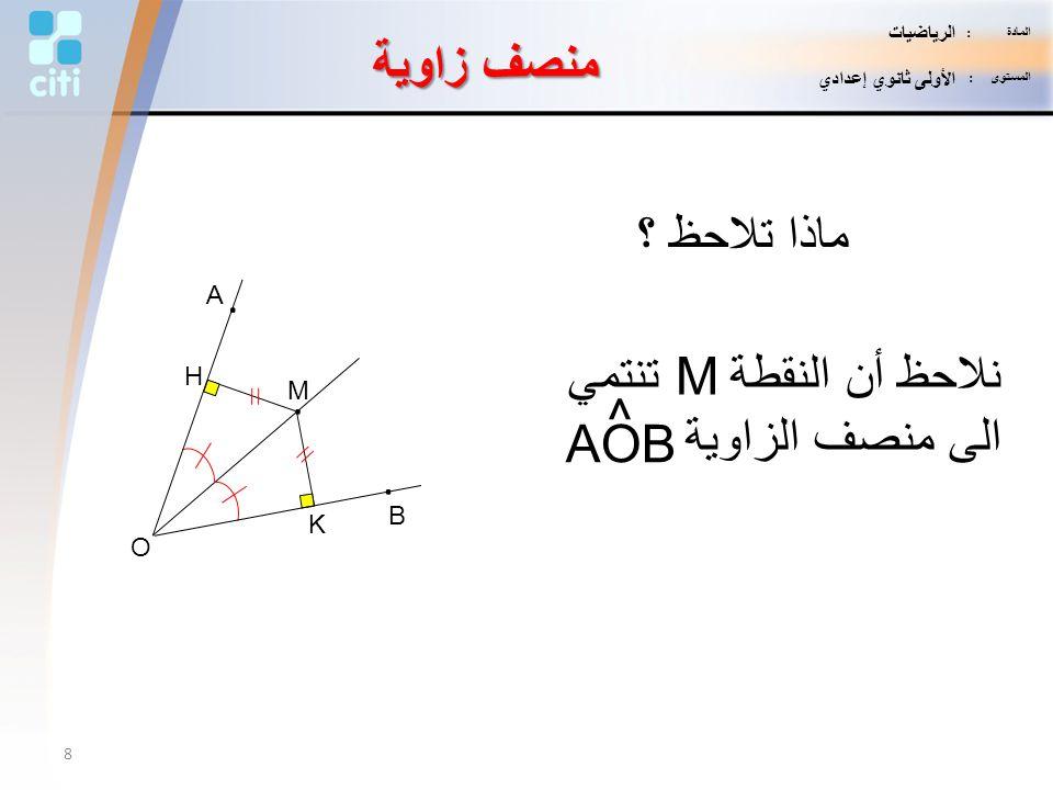 نلاحظ أن النقطة M تنتمي الى منصف الزاوية ^ AOB