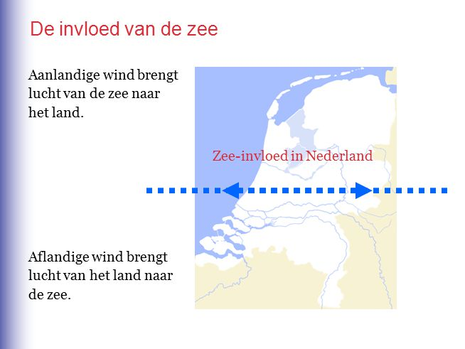 De invloed van de zee Aanlandige wind brengt lucht van de zee naar