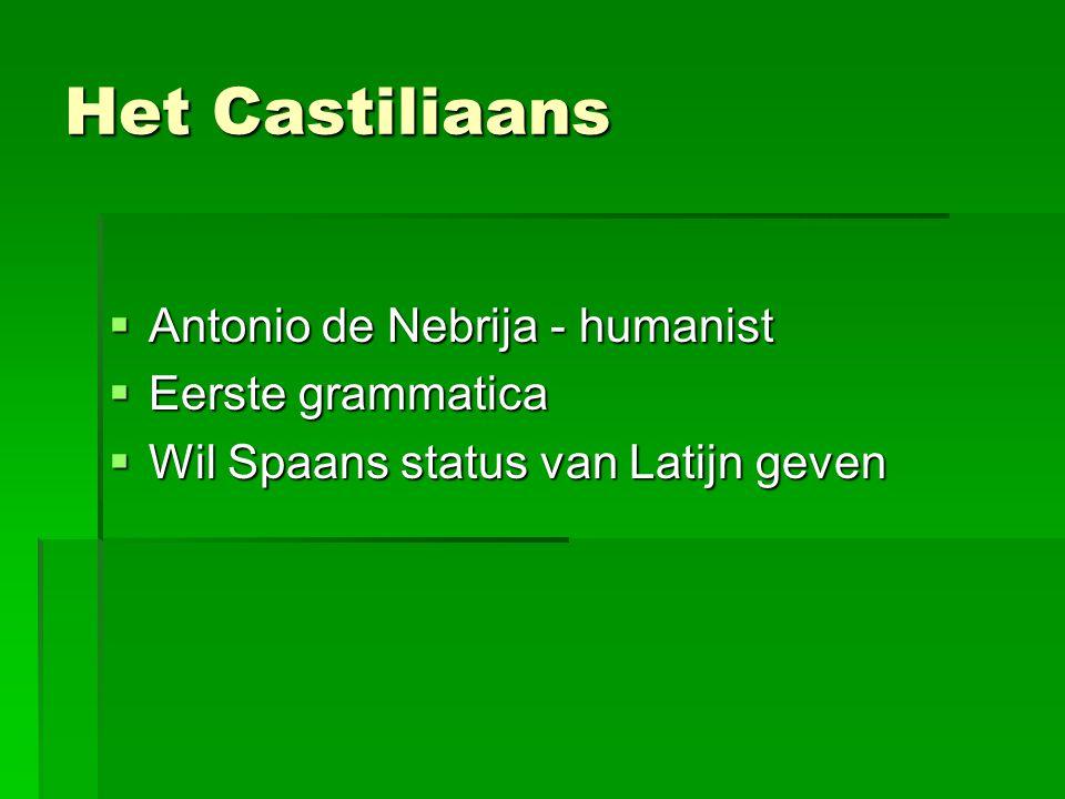 Het Castiliaans Antonio de Nebrija - humanist Eerste grammatica