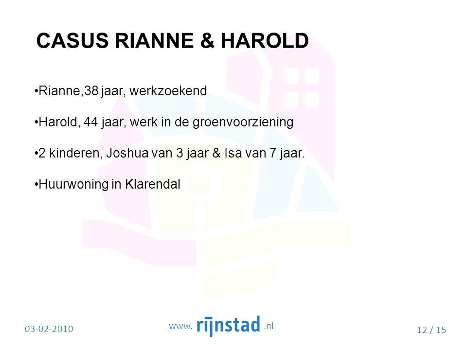 CASUS RIANNE & HAROLD Rianne,38 jaar, werkzoekend