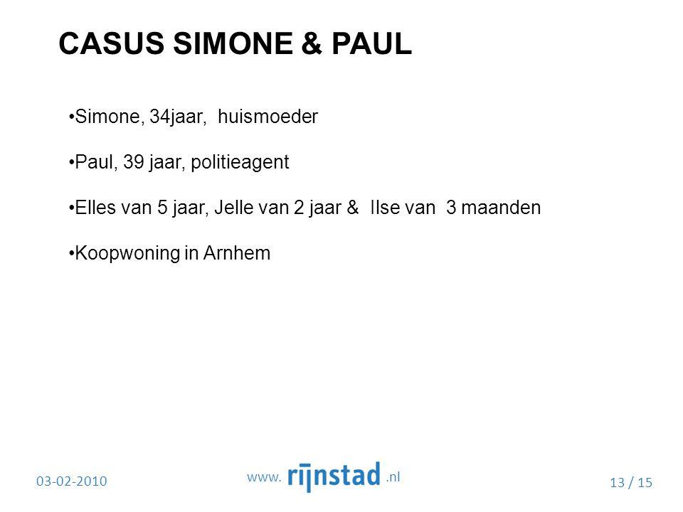 CASUS SIMONE & PAUL Simone, 34jaar, huismoeder