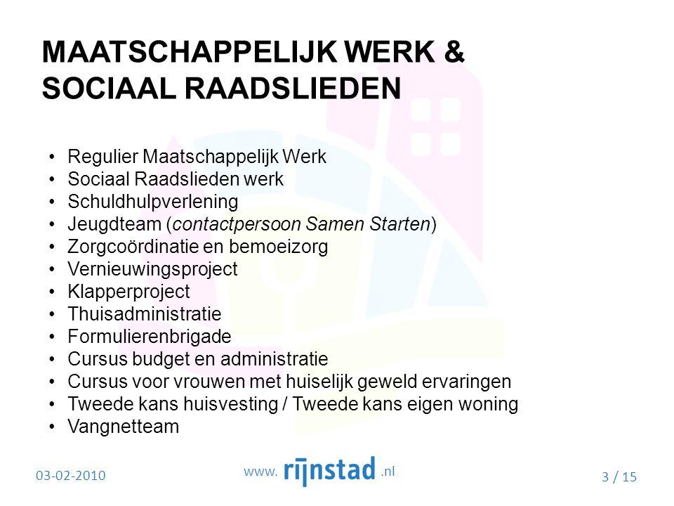 MAATSCHAPPELIJK WERK & SOCIAAL RAADSLIEDEN