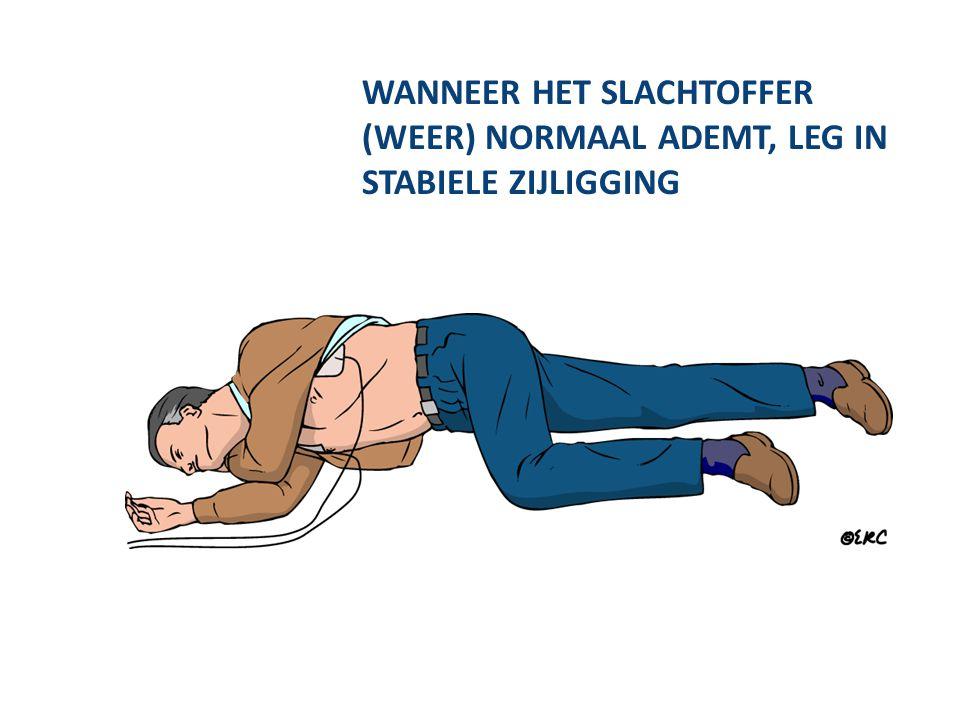 WANNEER HET SLACHTOFFER (WEER) NORMAAL ADEMT, LEG IN STABIELE ZIJLIGGING