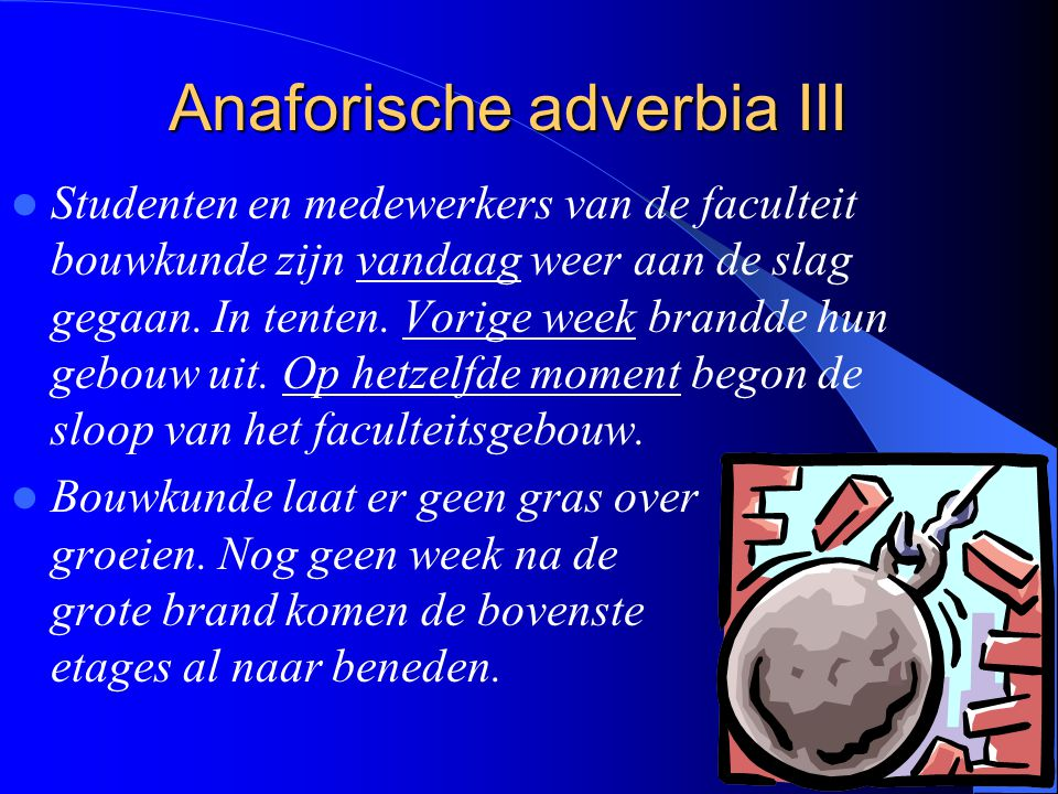 Anaforische adverbia III