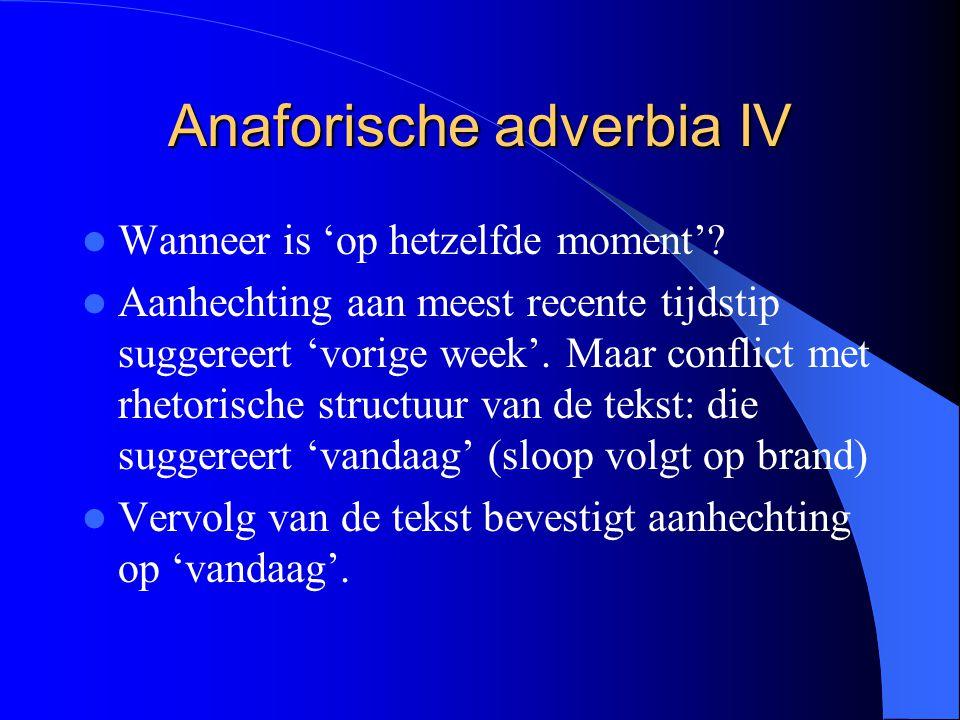 Anaforische adverbia IV
