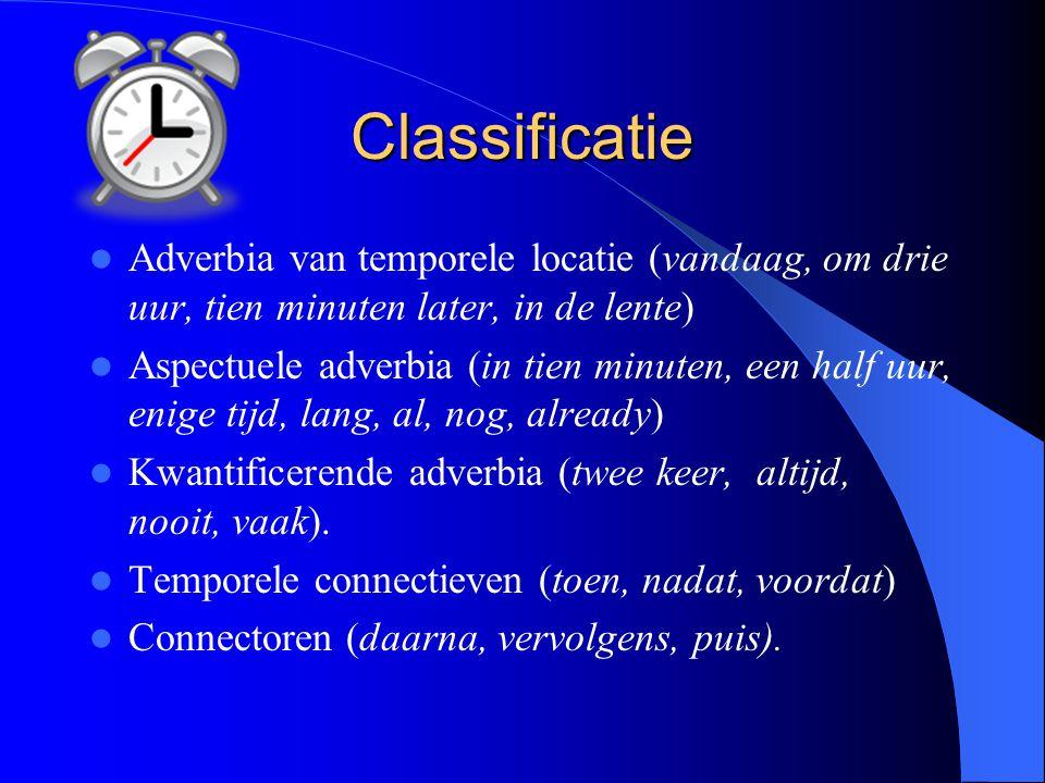Classificatie Adverbia van temporele locatie (vandaag, om drie uur, tien minuten later, in de lente)