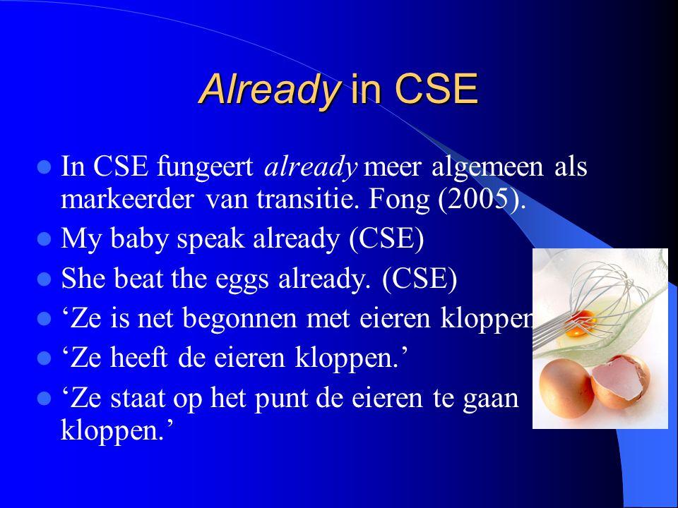 Already in CSE In CSE fungeert already meer algemeen als markeerder van transitie. Fong (2005). My baby speak already (CSE)