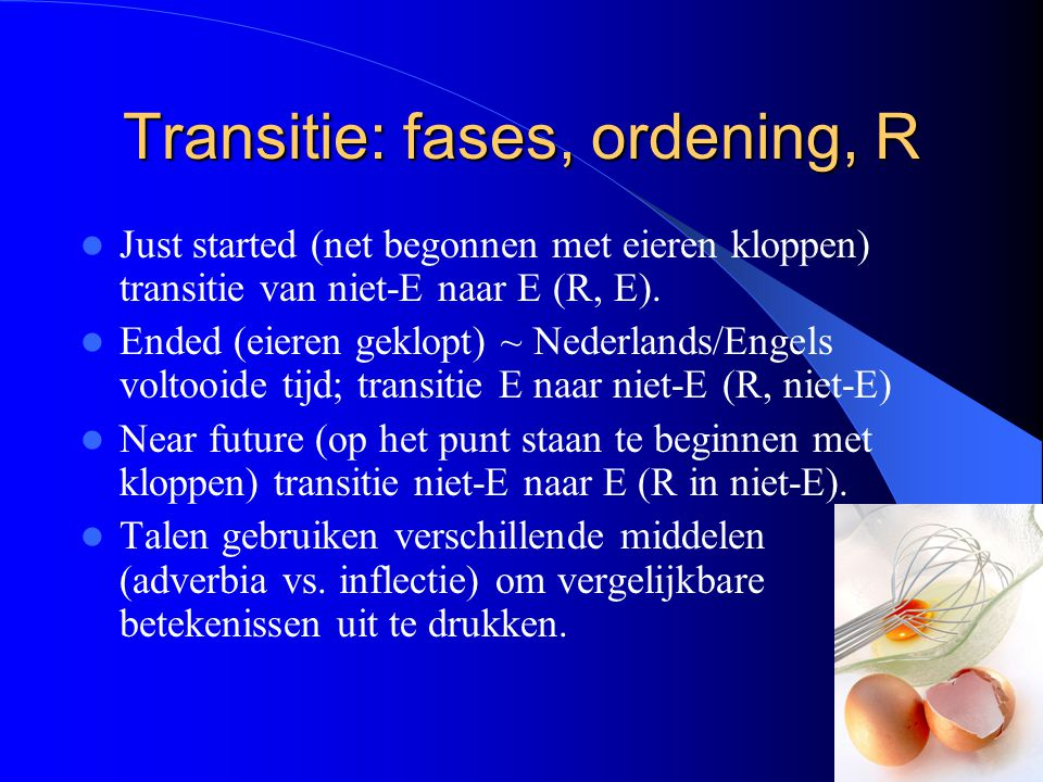 Transitie: fases, ordening, R