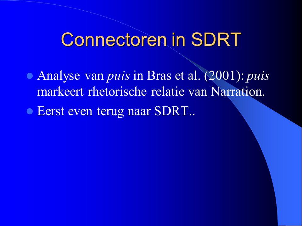 Connectoren in SDRT Analyse van puis in Bras et al. (2001): puis markeert rhetorische relatie van Narration.