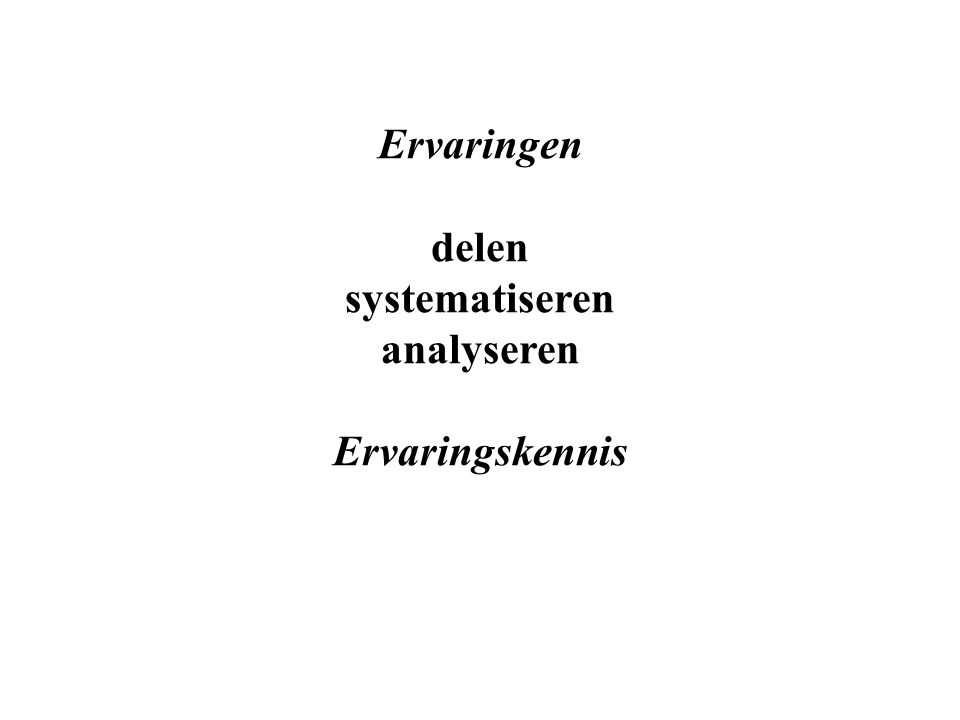 Ervaringen delen systematiseren analyseren Ervaringskennis