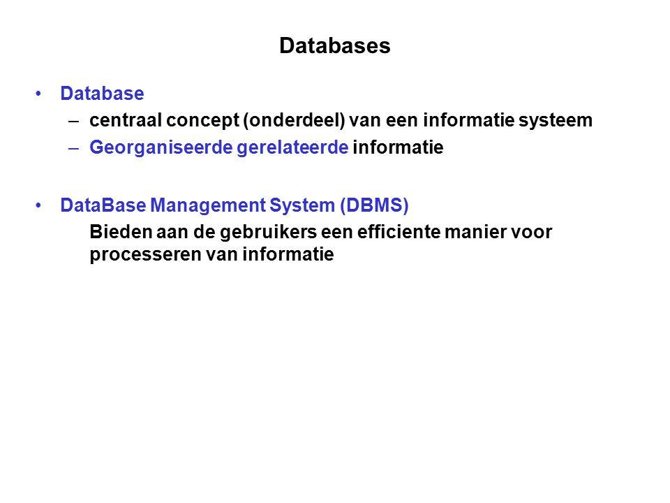 Databases Database. centraal concept (onderdeel) van een informatie systeem. Georganiseerde gerelateerde informatie.