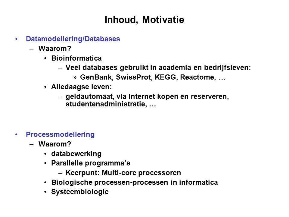 Inhoud, Motivatie Datamodellering/Databases Waarom Bioinformatica