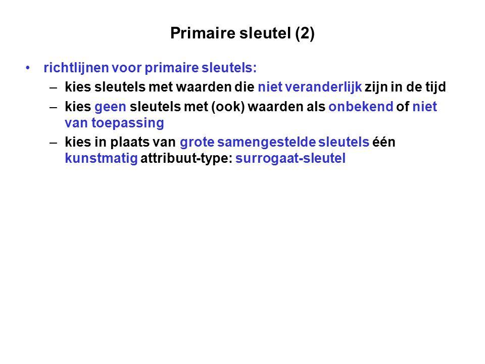 Primaire sleutel (2) richtlijnen voor primaire sleutels: