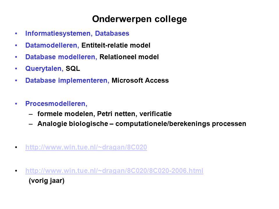 Onderwerpen college Informatiesystemen, Databases