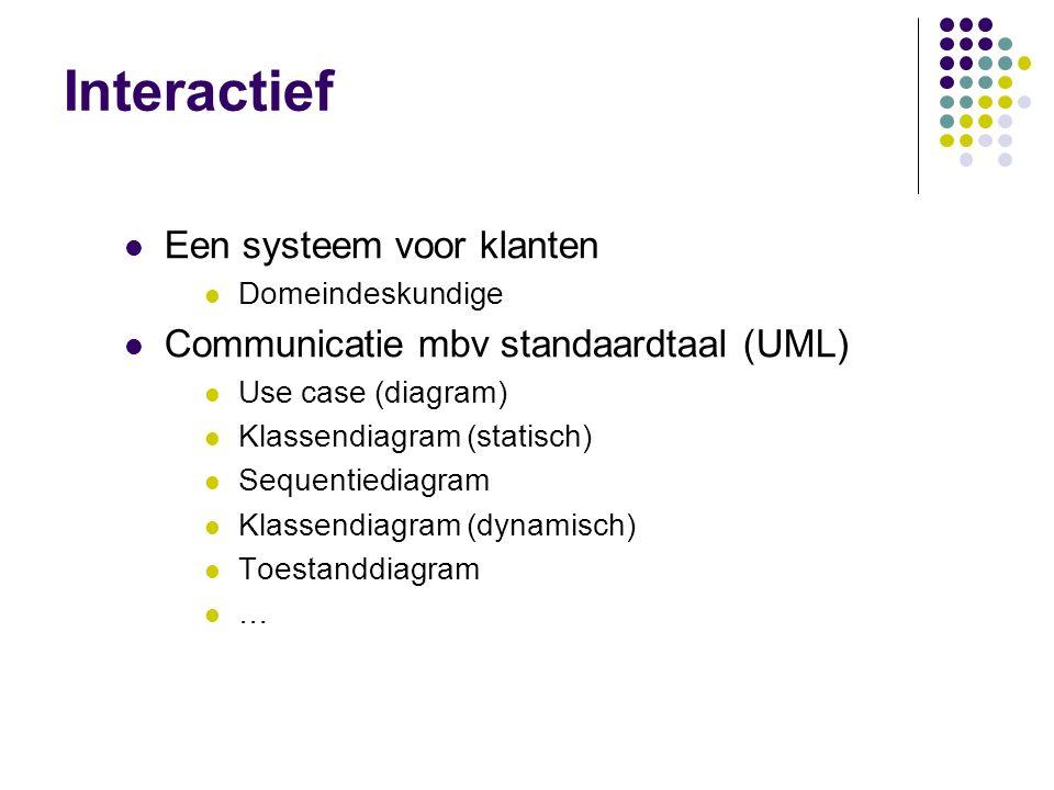 Interactief Een systeem voor klanten