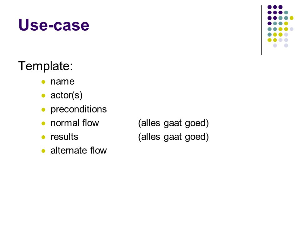 Use-case Template: name actor(s) preconditions