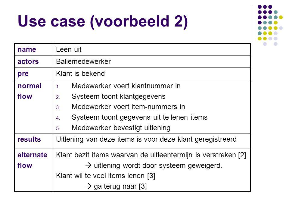 Use case (voorbeeld 2) name Leen uit actors Baliemedewerker pre