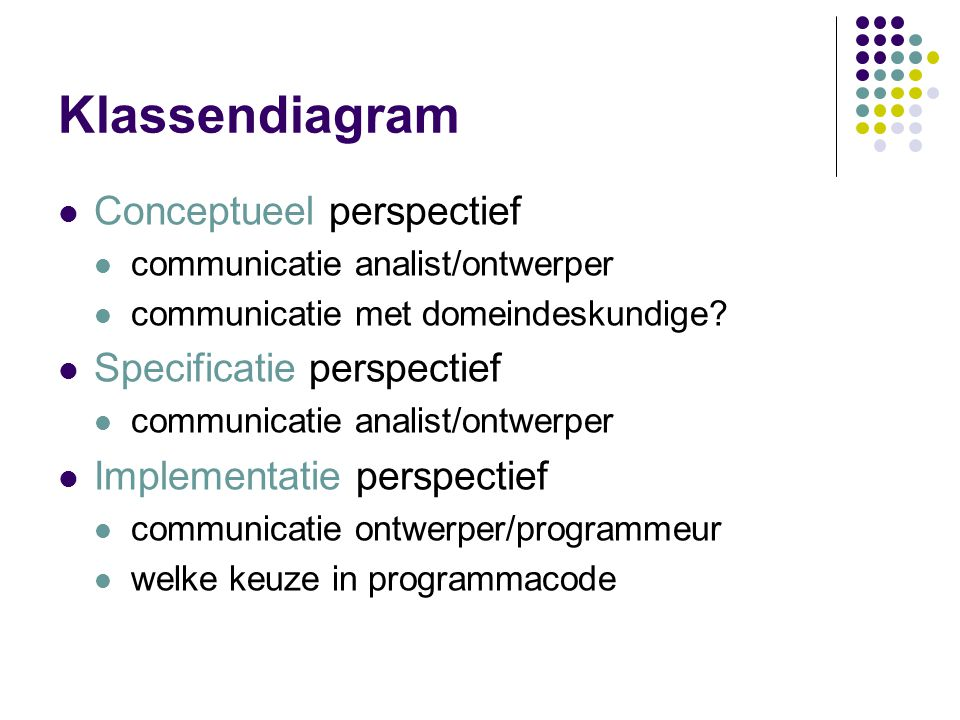 Klassendiagram Conceptueel perspectief Specificatie perspectief