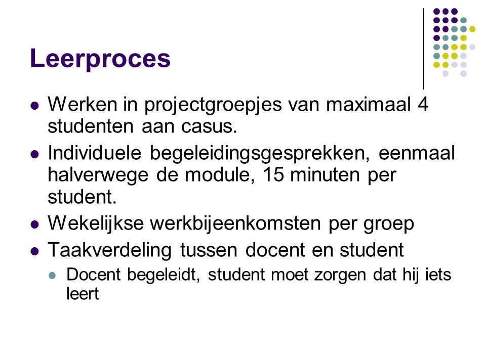 Leerproces Werken in projectgroepjes van maximaal 4 studenten aan casus.