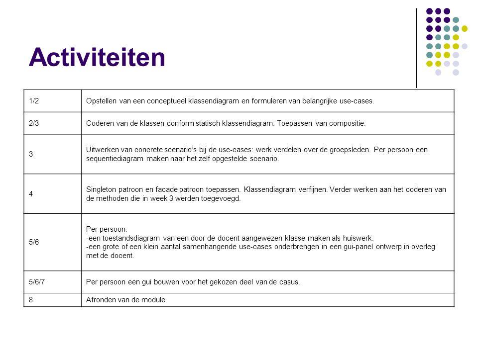 Activiteiten 1/2. Opstellen van een conceptueel klassendiagram en formuleren van belangrijke use-cases.