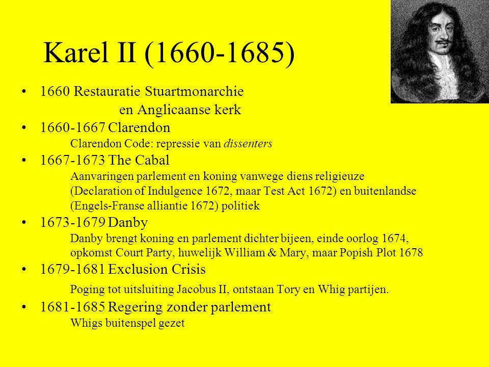 Karel II (1660-1685) 1660 Restauratie Stuartmonarchie. en Anglicaanse kerk. 1660-1667 Clarendon. Clarendon Code: repressie van dissenters.