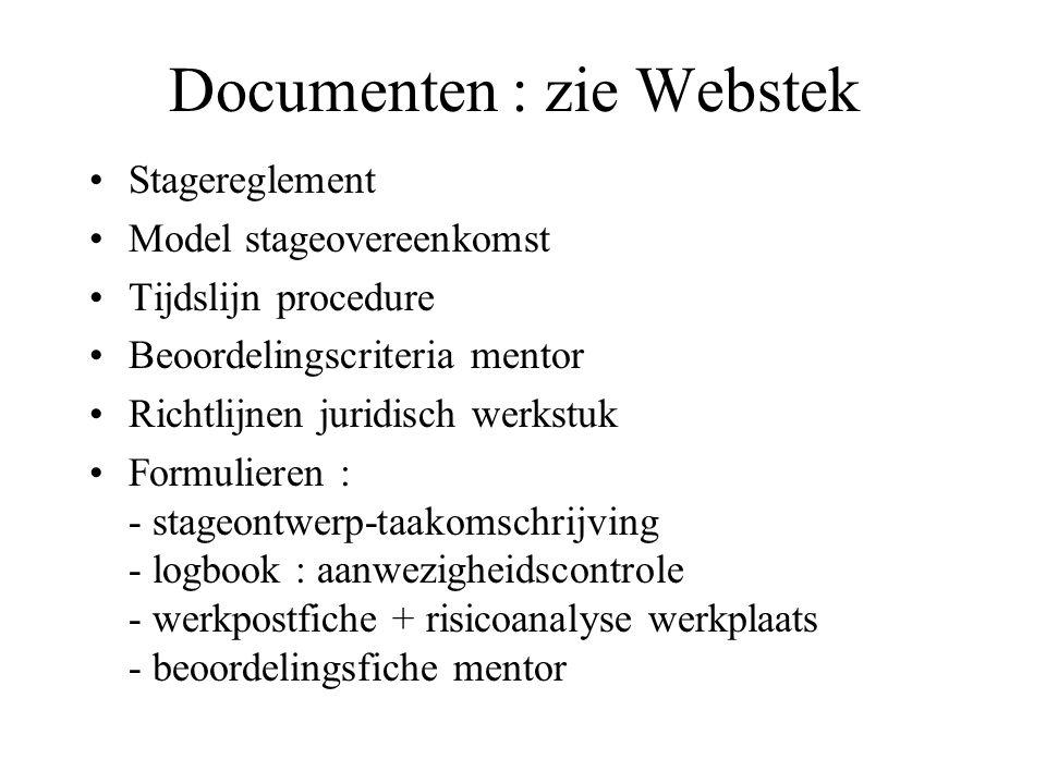 Documenten : zie Webstek