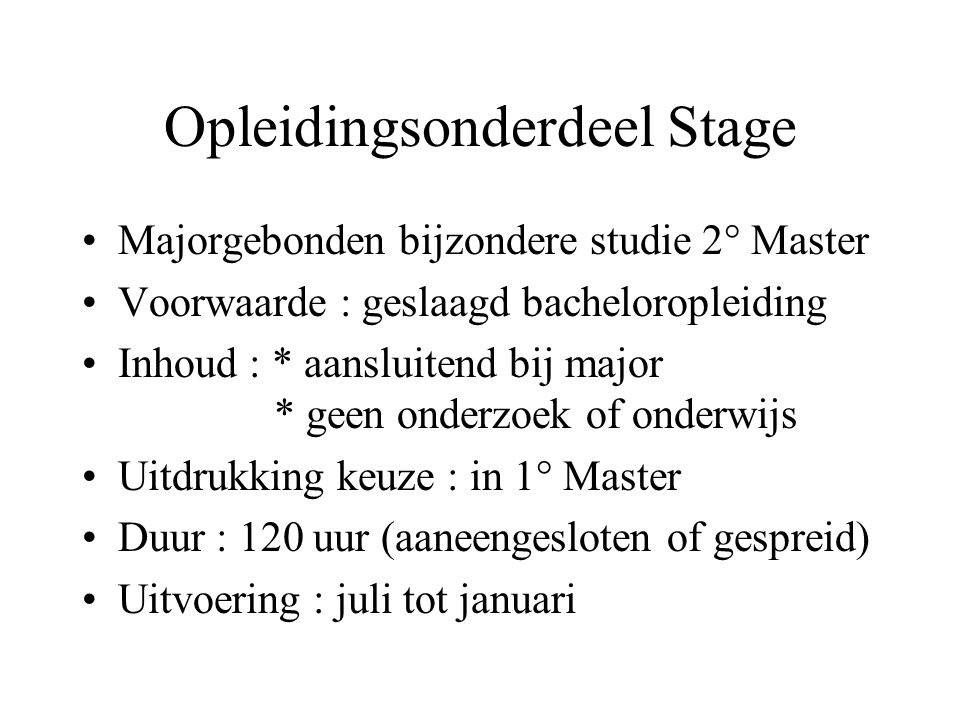 Opleidingsonderdeel Stage