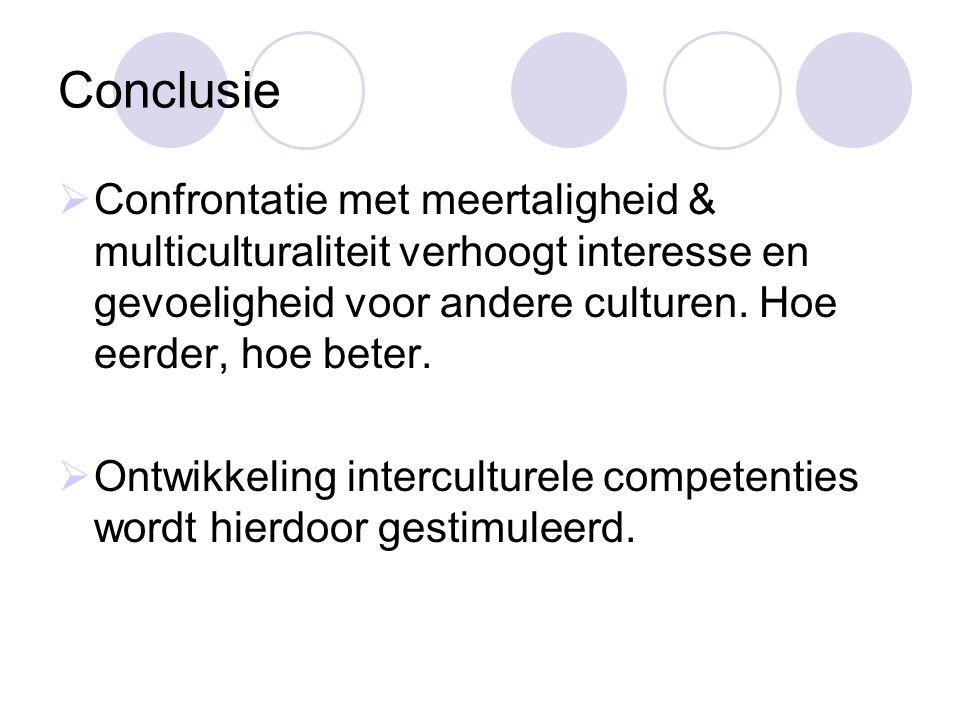 Conclusie Confrontatie met meertaligheid & multiculturaliteit verhoogt interesse en gevoeligheid voor andere culturen. Hoe eerder, hoe beter.