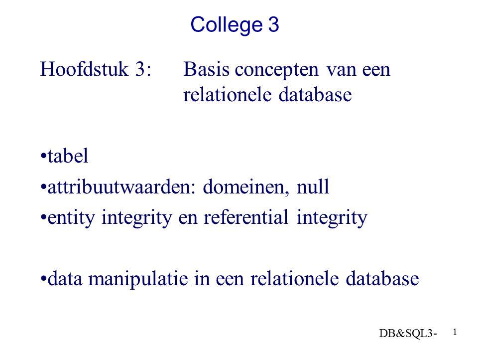 College 3 Hoofdstuk 3: Basis concepten van een relationele database. tabel. attribuutwaarden: domeinen, null.