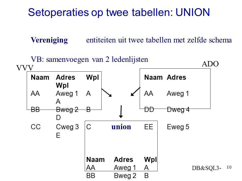 Setoperaties op twee tabellen: UNION