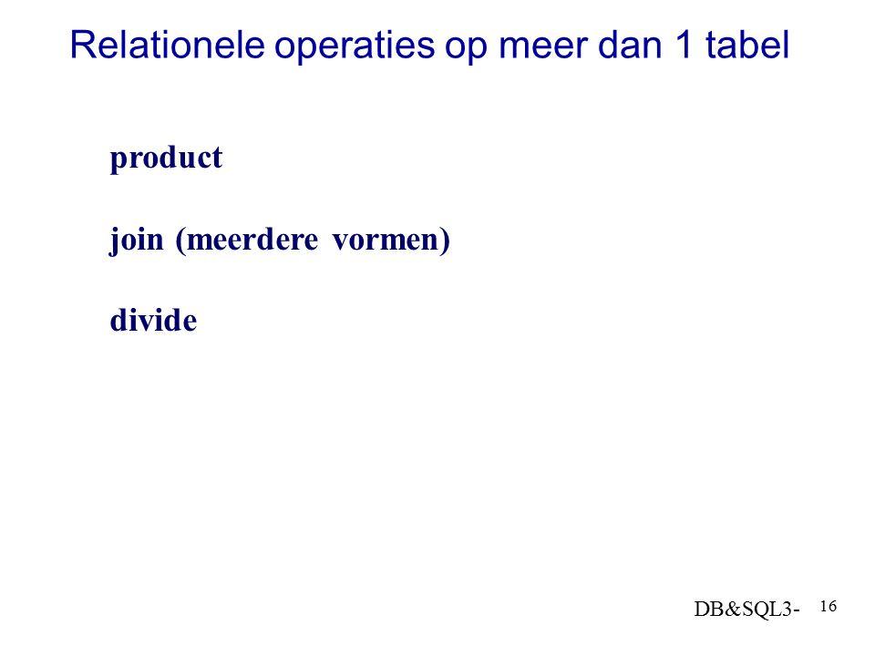 Relationele operaties op meer dan 1 tabel