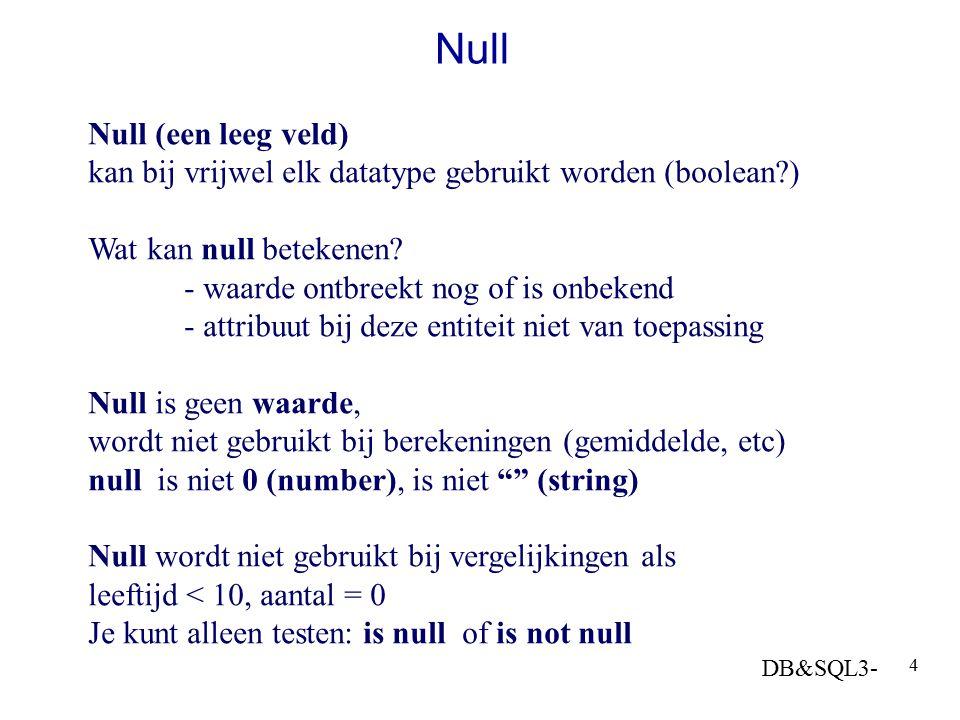 Null Null (een leeg veld)