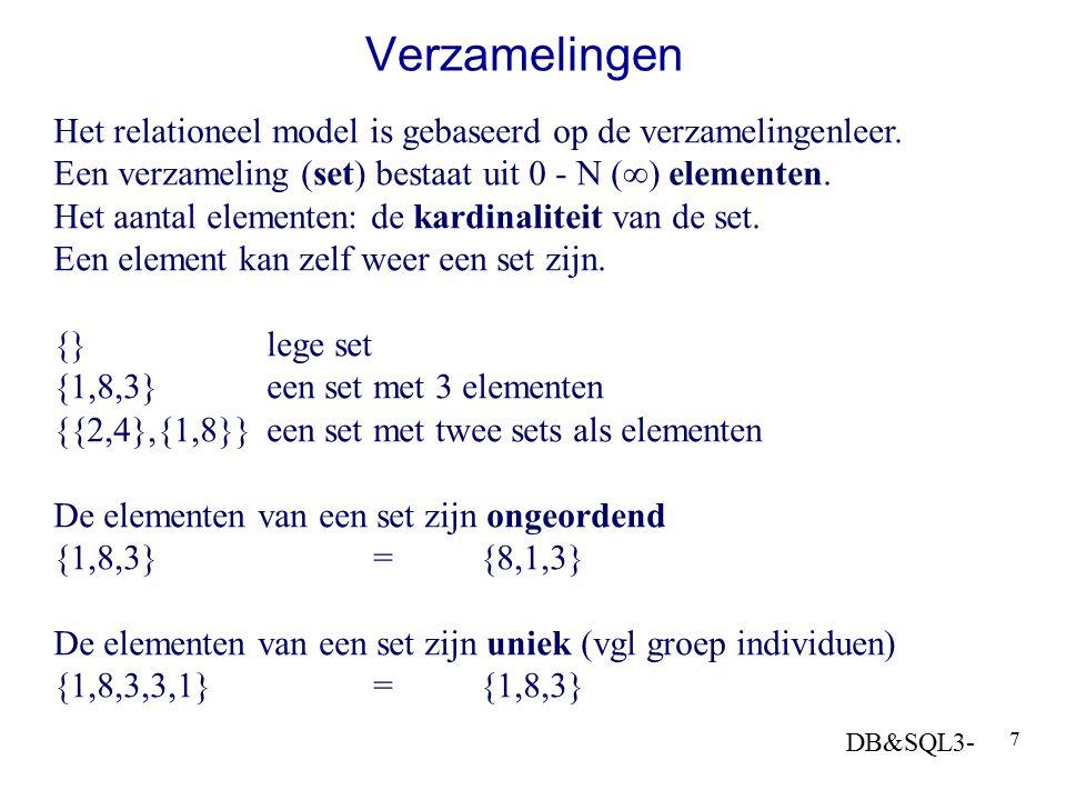 Verzamelingen Het relationeel model is gebaseerd op de verzamelingenleer. Een verzameling (set) bestaat uit 0 - N () elementen.