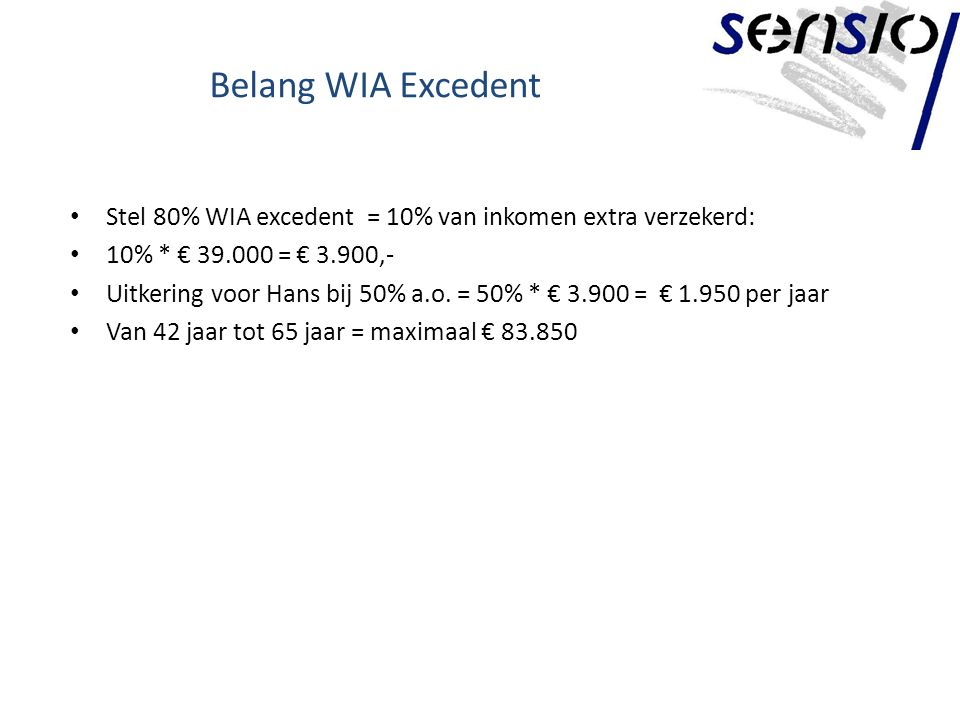 Belang WIA Excedent Stel 80% WIA excedent = 10% van inkomen extra verzekerd: 10% * € 39.000 = € 3.900,-